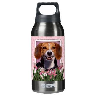 母の日-ピンクのチューリップ-ビーグル犬 断熱ウォーターボトル
