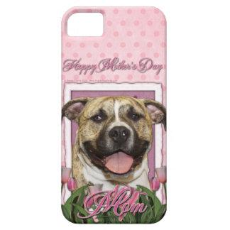 母の日-ピンクのチューリップ-ピットブル- Tigger iPhone SE/5/5s ケース
