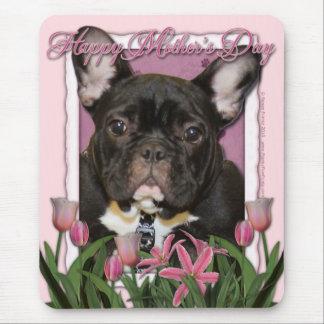 母の日-ピンクのチューリップ-フレンチ・ブルドッグ-ティール(緑がかった色) マウスパッド