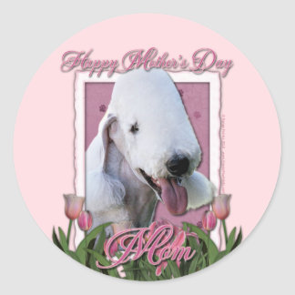 母の日-ピンクのチューリップ-ベドリントン・テリア ラウンドシール