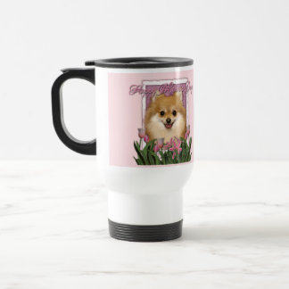 母の日-ピンクのチューリップ-ポメラニア犬 トラベルマグ