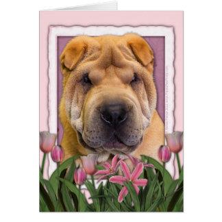 母の日-ピンクのチューリップ-中国語Shar Pei カード