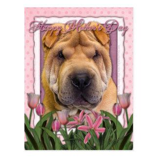 母の日-ピンクのチューリップ-中国語Shar Pei ポストカード