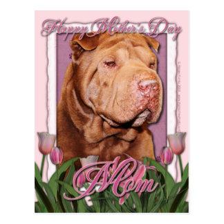 母の日-ピンクのチューリップ-幸運な中国語Shar Pei ポストカード