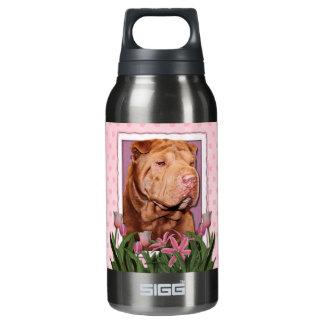 母の日-ピンクのチューリップ-幸運な中国語Shar Pei 断熱ウォーターボトル