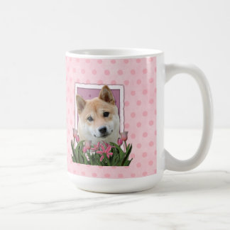 母の日-ピンクのチューリップ-柴犬 コーヒーマグカップ