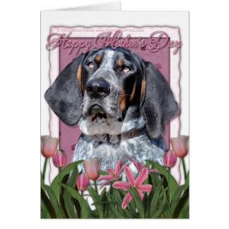 母の日-ピンクのチューリップ- BluetickのCoonhound カード
