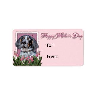 母の日-ピンクのチューリップ- BluetickのCoonhound ラベル