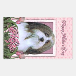 母の日-ピンクのチューリップ- Havanese 長方形シール