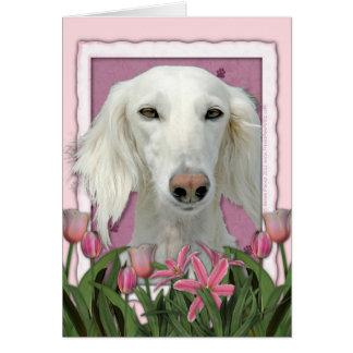 母の日-ピンクのチューリップ- Saluki カード