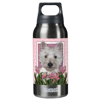 母の日-ピンクのチューリップ- Westie 断熱ウォーターボトル