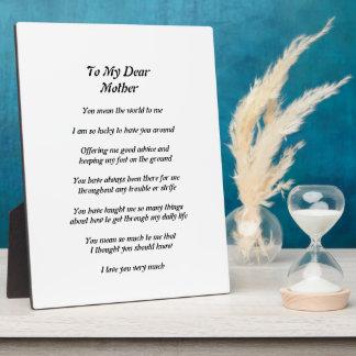 母の詩のプラク フォトプラーク