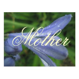 母エレガントで青い花の郵便はがき ポストカード
