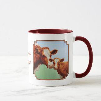 母ガーンジー牛およびかわいい子牛 マグカップ