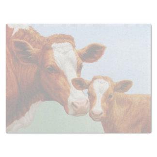 母ガーンジー牛およびかわいい子牛 薄葉紙