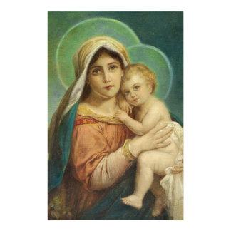母メリー賛美されたベビーイエス・キリスト 便箋
