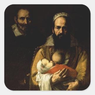母乳で育てている髭がある女性1631年 スクエアシール