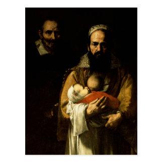母乳で育てている髭がある女性1631年 ポストカード