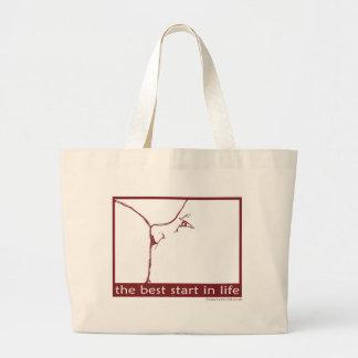 母乳で育てること-生命の最も最高のな開始 ラージトートバッグ