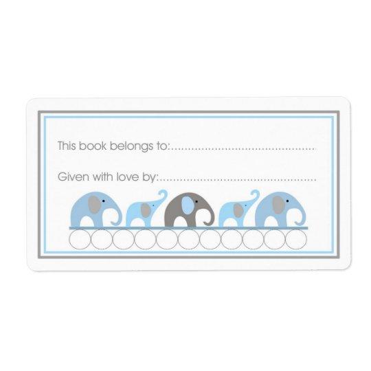 母及びベビー象の蔵書票の書き込み式スタイル 発送ラベル