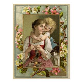 母及び娘のヴィンテージの再生の郵便はがき ポストカード