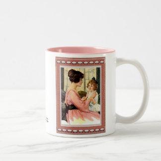 母及び子供 ツートーンマグカップ