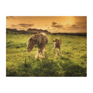 母及び子馬の馬 ウッドウォールアート