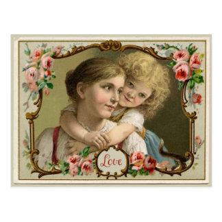母性愛のヴィンテージの再生の郵便はがき ポストカード