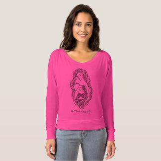 母性愛の女性のBella+肩を離れたキャンバスFlowy Tシャツ