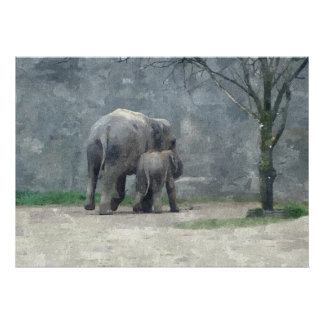 母性愛の水彩画ポスター ポスター