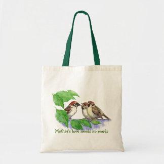 母性愛は単語、すずめの鳥を必要としません トートバッグ