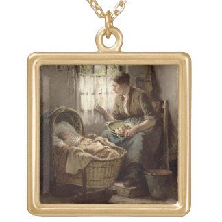 母親らしい愛情(キャンバスの油) ゴールドプレートネックレス
