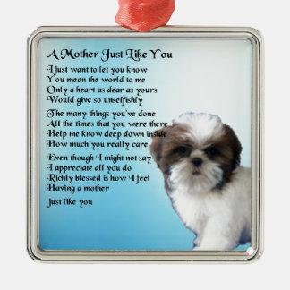 母詩-シーズー(犬)のTzuのデザイン メタルオーナメント