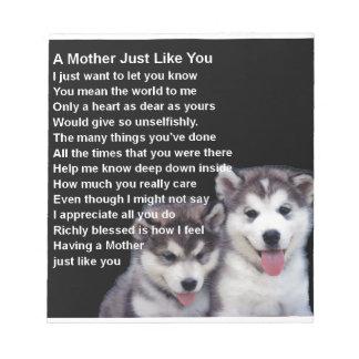 母詩-ハスキーな犬のデザイン ノートパッド