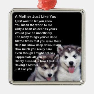 母詩-ハスキーな犬のデザイン メタルオーナメント
