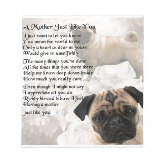 母詩-パグのデザイン ノートパッド