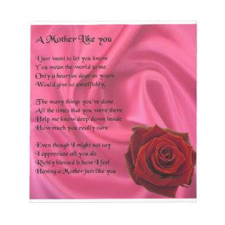 母詩-ピンクの絹及びバラのデザイン ノートパッド