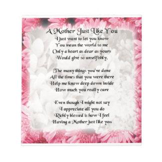 母詩-ピンクの花柄 ノートパッド