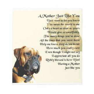 母詩-ボクサー犬のデザイン ノートパッド