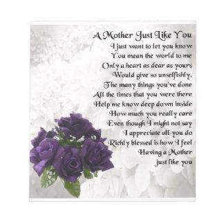母詩-紫色のバラ ノートパッド