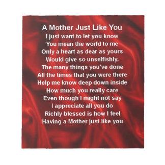 母詩-赤い絹 ノートパッド