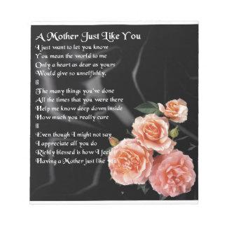 母詩-黒い絹のバラ ノートパッド