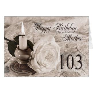 母、103のためのバースデー・カード。 蝋燭は上がり、 カード