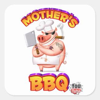 母BBQのステッカー スクエアシール