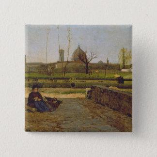 毎日場面、フィレンツェの近くで、c.1865 5.1cm 正方形バッジ