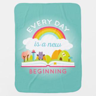 毎日新しい始めのかわいい虹はです ベビー ブランケット