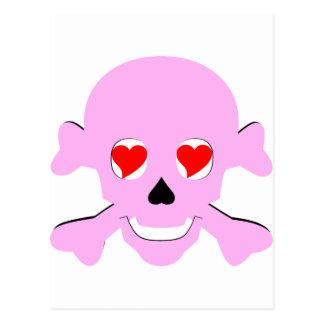 毒ピンクのバレンタインのスカル及び骨が交差した図形のハート ポストカード