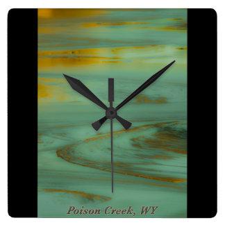 毒入り江のワイオミングの抽象的な写真撮影のデザイン ウォールクロック