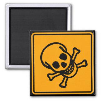 毒死のスカルの黄色のダイヤモンドの警告標識 マグネット