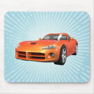 毒蛇懸命トップの筋肉車: オレンジ終わり: マウスパッド